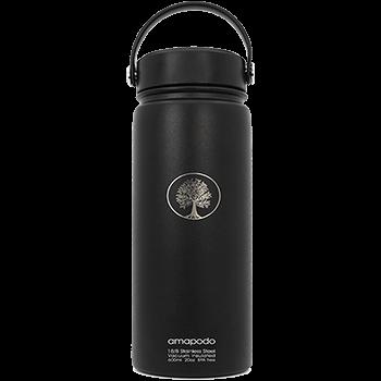 Edelstahl Trinkflasche, schwarz, 600ml