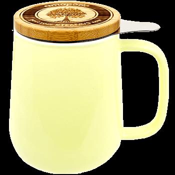 Teetasse mit sieb und Deckel, Porzellan, gelb, 650ml