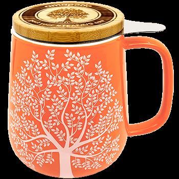 Teetasse mit sieb und Deckel, Porzellan, orange, 650ml