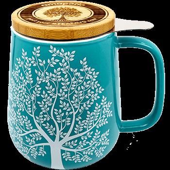 Teetasse mit sieb und Deckel, Porzellan, tuerkis, 650ml