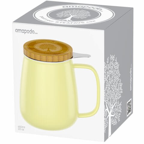 Teetasse 650ml gelb Geschenkverpackung