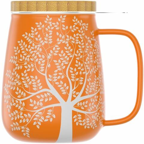 Teetasse 650ml orange mit Bambusdeckel