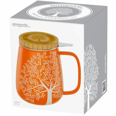 Teetasse 650ml orange Geschenkverpackung