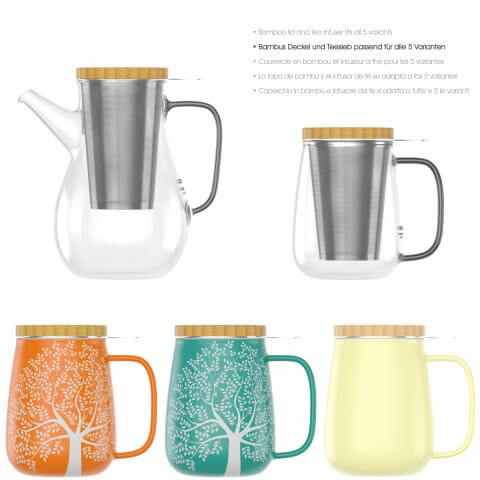 Teetasse 650ml türkis, Teekanne 1100ml, Teeglas 700ml