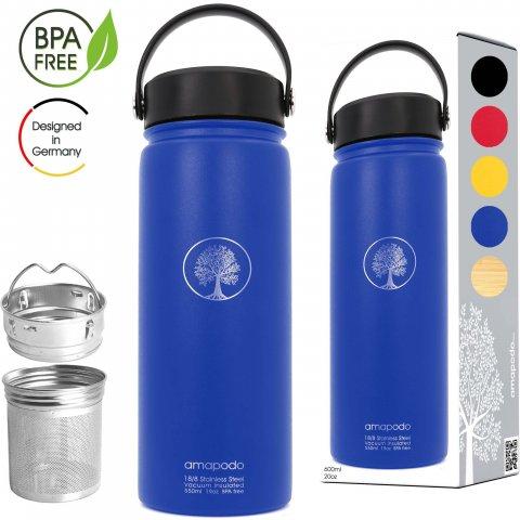 Edelstahl Trinkflasche mit Sieb 600ml blau