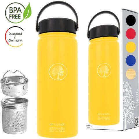 Edelstahl Trinkflasche mit Sieb 600ml gelb