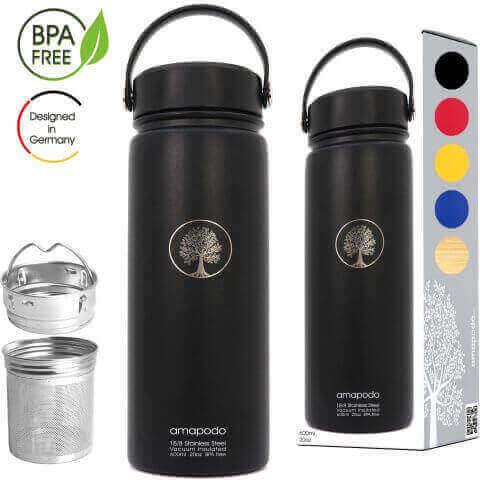 Edelstahl Trinkflasche mit Sieb 600ml schwarz