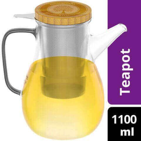 Teekanne 1100ml mit Edelstahl Sieb und Deckel