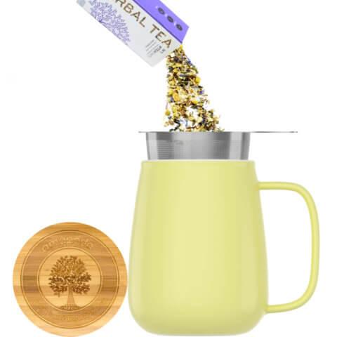 amapodo Teetasse mit Deckel und Sieb 600ml Gelb Teeaufguss