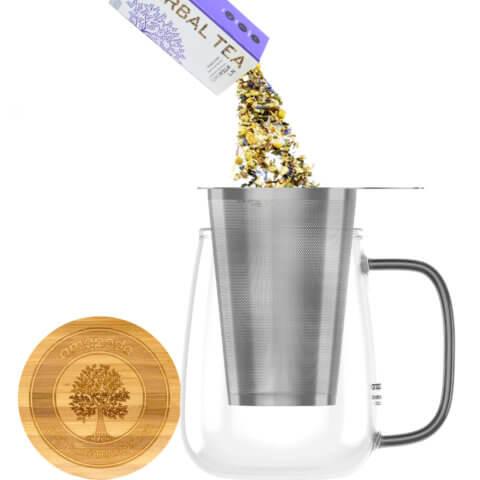 amapodo Teeglas mit Sieb und Deckel 700ml Henkel schwarz Teeaufguss