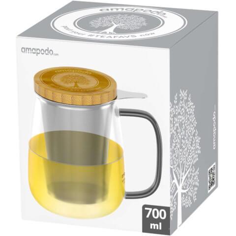 amapodo Teeglas mit Sieb und Deckel 700ml Henkel schwarz Verpackung