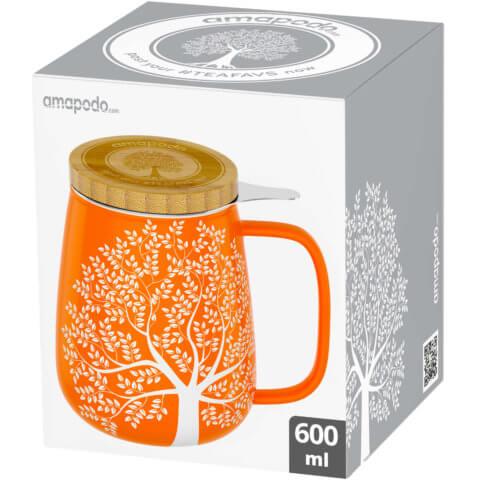 amapodo Teetasse mit Deckel und Sieb 600ml Orange Verpackung