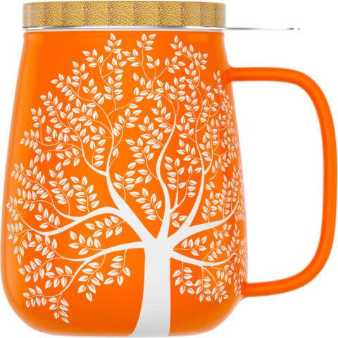 amapodo Teetasse mit Deckel und Sieb 600ml Orange Vorn