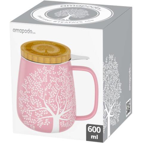 amapodo Teetasse mit Deckel und Sieb 600ml Rosa Verpackung