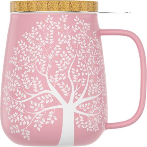 amapodo Teetasse mit Deckel und Sieb 600ml Rosa Vorn
