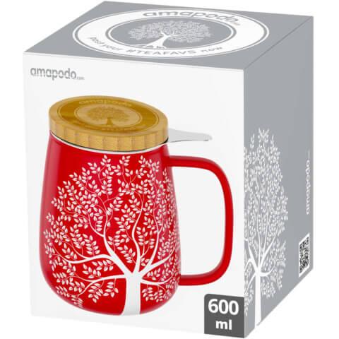 amapodo Teetasse mit Deckel und Sieb 600ml Rot Verpackung