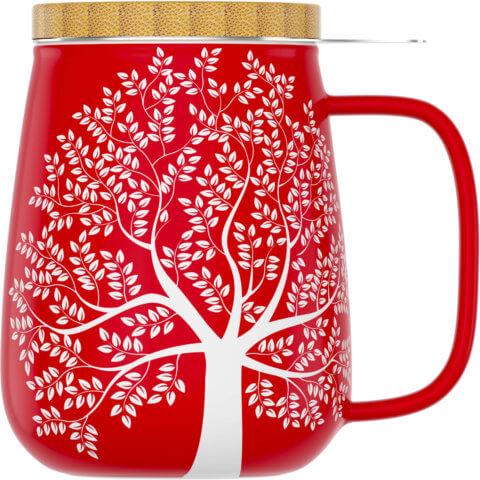 amapodo Teetasse mit Deckel und Sieb 600ml Rot Vorn