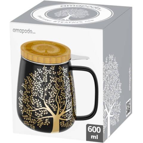 amapodo Teetasse mit Deckel und Sieb 600ml Dunkelgrau Verpackung