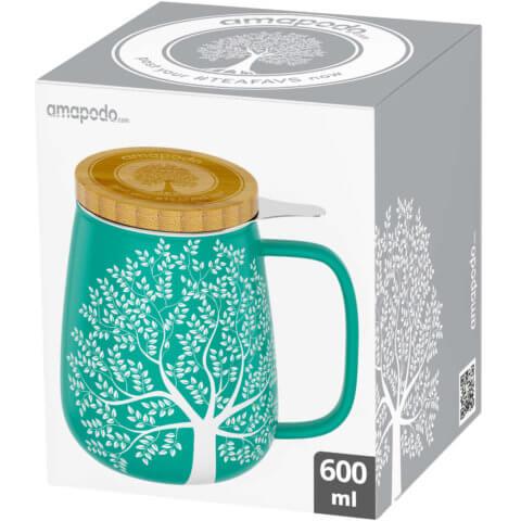 amapodo Teetasse mit Deckel und Sieb in Türkis 600ml Verpackung