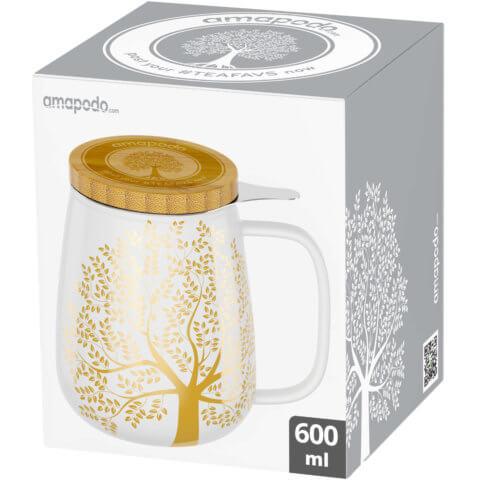 amapodo Teetasse mit Deckel und Sieb 600ml Weiß Verpackung