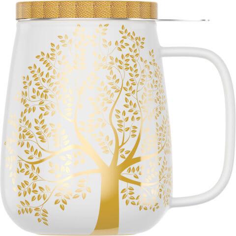 amapodo Teetasse mit Deckel und Sieb 600ml Weiß Vorn