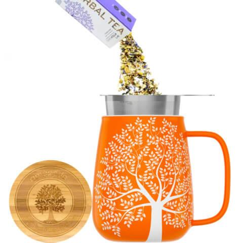amapodo Teetasse mit Deckel und Sieb 600ml Orange Teeaufguss