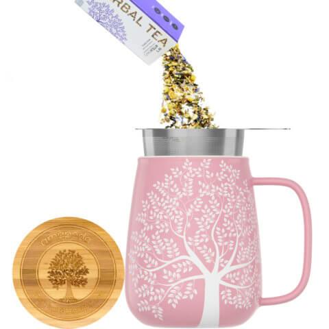 amapodo Teetasse mit Deckel und Sieb 600ml Rosa Teeaufguss
