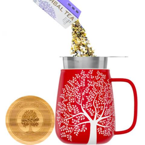 amapodo Teetasse mit Deckel und Sieb 600ml Rot Teeaufguss