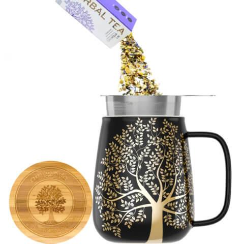 amapodo Teetasse mit Deckel und Sieb 600ml Dunkelgrau Teeaufguss