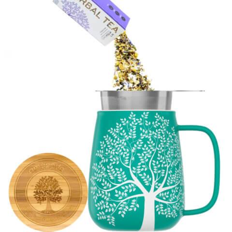amapodo Teetasse mit Deckel und Sieb 600ml Türkis Teeaufguss