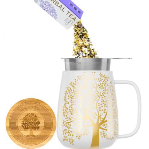 amapodo Teetasse mit Deckel und Sieb 600ml Weiß Teeaufguss