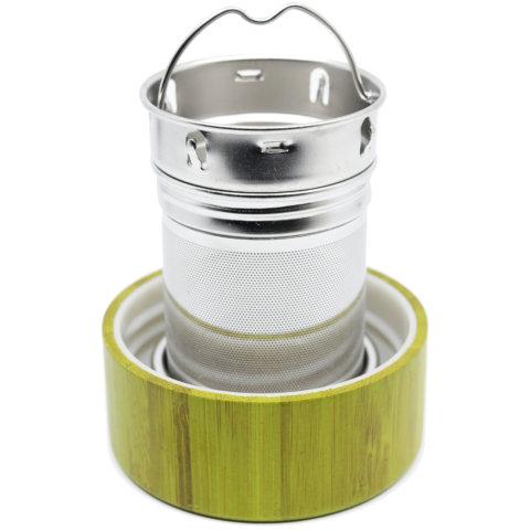 amapodo Ersatz Deckel aus Bambus in Grün für 400ml Teeflasche, Untersetzer für Teesieb