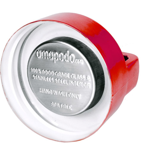 amapodo Ersatz Deckel Rot für 400ml Teeflasche Innenseite