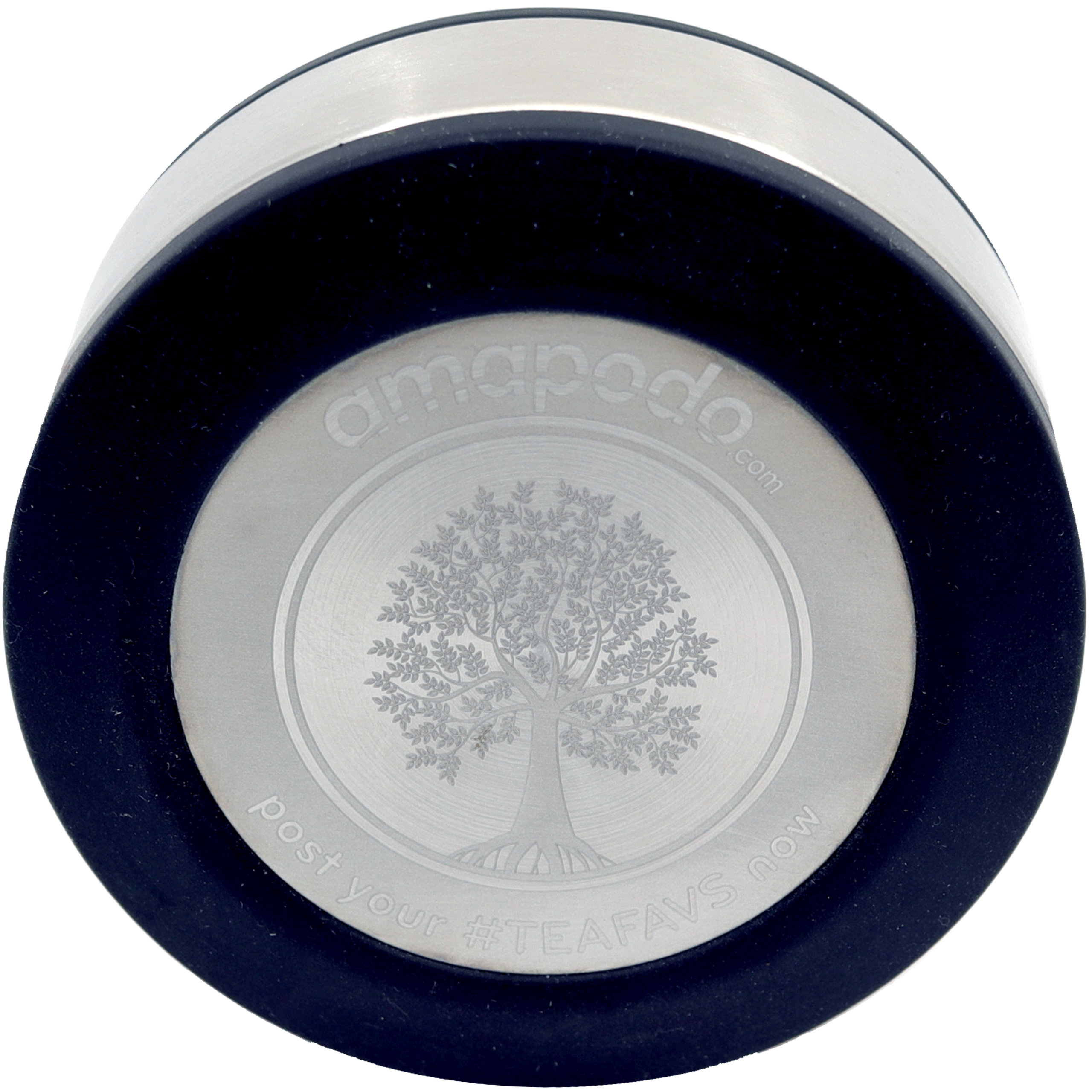 amapodo Ersatzdeckel in Schwarz passend für 400ml Glasflaschen - Edelstahlkern mit Teesieb Ablage, BPA-Frei