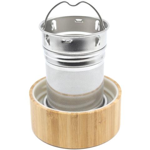 amapodo Ersatz Deckel aus Bambus für 400ml Teeflasche, Untersetzer für Teesieb