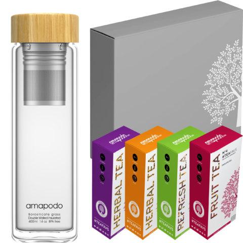 amapodo Tee Geschenke für Frauen und Männer Geschenkbox Geschenkset Angebot Glasflasche Bambus