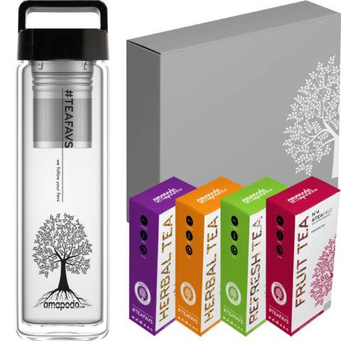 amapodo Tee Geschenke für Frauen und Männer Geschenkbox Geschenkset Angebot Glasflasche Schwarz
