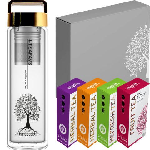 amapodo Tee Geschenke für Frauen und Männer Geschenkbox Geschenkset Angebot Tea Bottle Gold