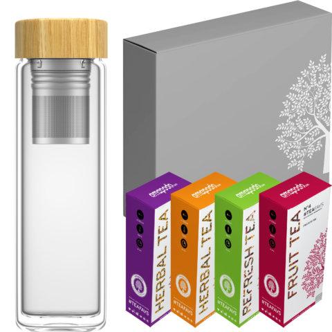 amapodo Tee Geschenke für Frauen und Männer Geschenkbox Geschenkset Angebot Teebereiter Bambus