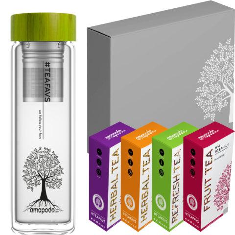amapodo Tee Geschenke für Frauen und Männer Geschenkbox Geschenkset Angebot Teeflasche Bambus Grün