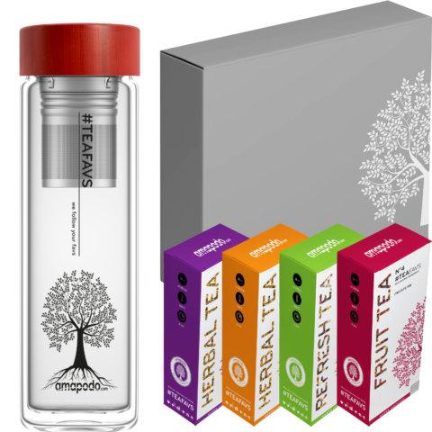 amapodo Tee Geschenke für Frauen und Männer Geschenkbox Geschenkset Angebot Teeflasche Bambus Rot