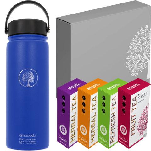 amapodo Tee Geschenke für Frauen und Männer Geschenkbox Geschenkset Angebot Thermosflasche Blau