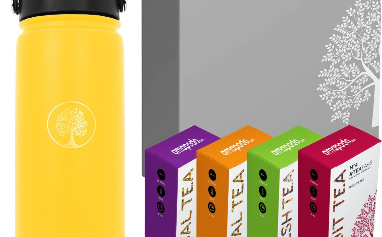 amapodo Tee Geschenke für Frauen und Männer Geschenkbox Geschenkset Angebot Thermosflasche Gelb