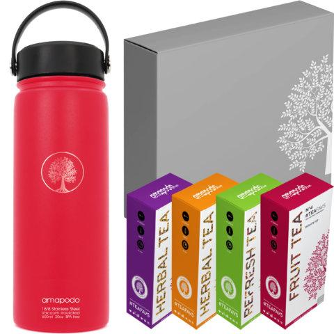 amapodo Tee Geschenke für Frauen und Männer Geschenkbox Geschenkset Angebot Thermosflasche Rot