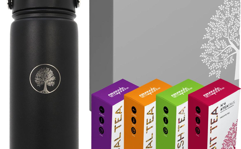 amapodo Tee Geschenke für Frauen und Männer Geschenkbox Geschenkset Angebot Thermosflasche Schwarz