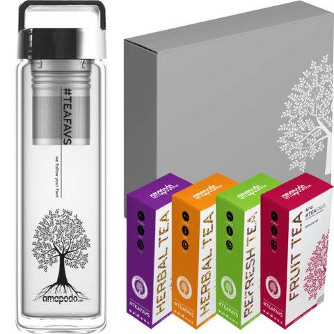 amapodo Tee Geschenke für Frauen und Männer Geschenkbox Geschenkset Angebot Trinkflasche Silber