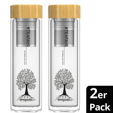 amapodo 2er-Pack Teeflasche mit Sieb to go 400ml doppelwandig Bambus Deckel