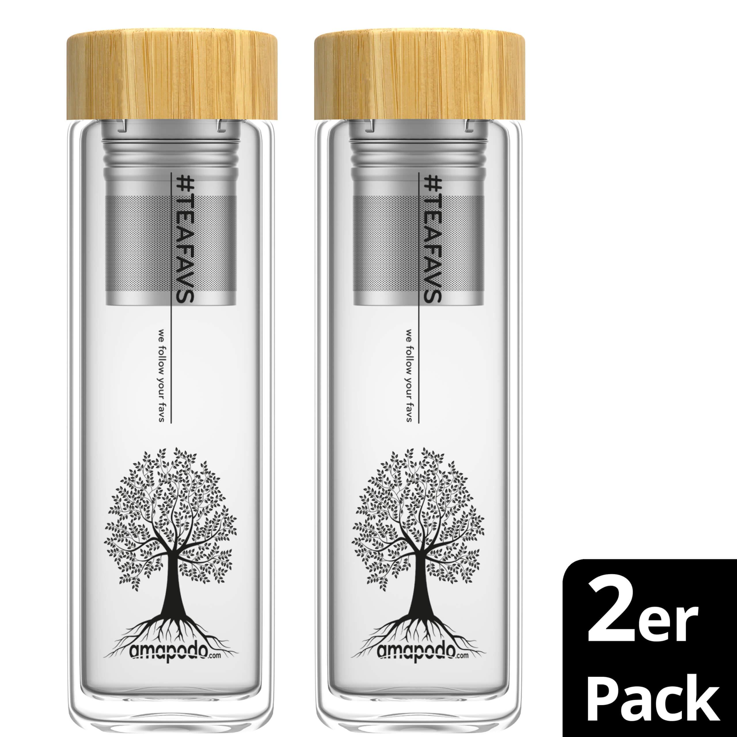 amapodo 2er Pack Teeflasche mit Sieb und Bambus Deckel, Trinkflasche 400ml