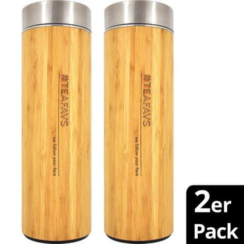 amapodo 2er-Pack Trinkflasche Edelstahl Bambus 500ml isoliert mit Sieb