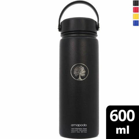 amapodo Edelstahl Trinkflasche Schwarz isoliert 600ml vorn